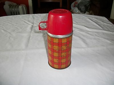 Vintage Metal 1950's Lunchbox Thermos   Red/Yellow Plaid Aladdin Industries