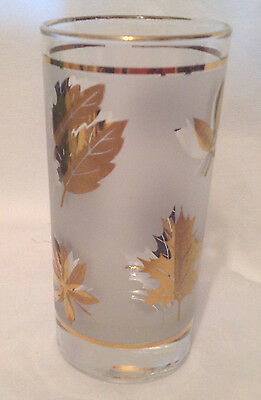 Libbey Rock Sharpe Frosted Gold Autumn Leaf Foliage Glass Tumbler 12 Oz Ec