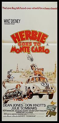 HERBIE GOES TO MONTE CARLO  vw beetle bug ORIGINAL 1977 daybill movie POSTER
