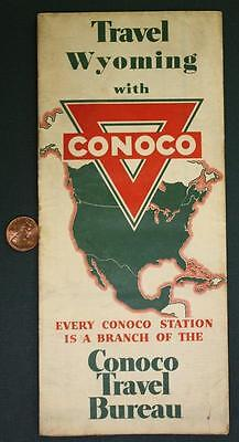 1940-50s Conoco Oil Gas service station Travel Wyoming Yellowstone park road map