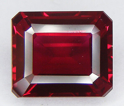 30% DE REDUCTION 11,15CT. RUBIS SANG DE PIGEON DE SYNTHESE T. EMERAUDE 14x12 MM.