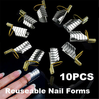 10 Pcs Reusable UV Gel Acrylic French Tips Nail Art Extension Guide Form Tool JP