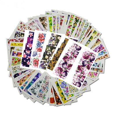48x Flower Decals Water Transfer Manicure Nail Art Stickers Tips Decoration DIY