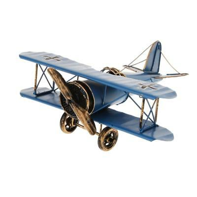 Vintage Metal Airplane Model Biplane Military Aircraft Home Decor Toy Blue