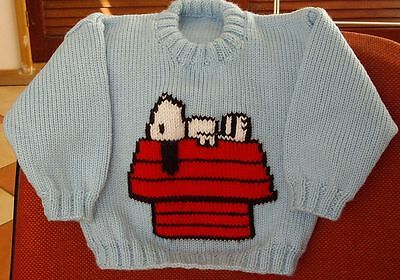 Snoopy On Kennel Roof  Size 2 New Hand Knitted  100% Acrylic