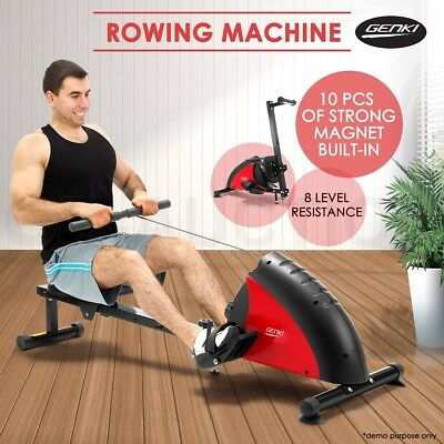GENKI Exercise Power Rower Resistance Rowing Machine with Magnetic Flywheel Gym