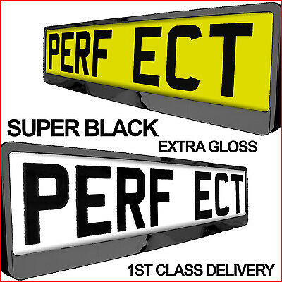 PAIR 2X SUPER BLACK PREMIUM CAR Number Plate Surround Holder for ANY CAR TUNING