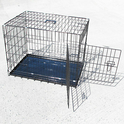 """Portable 24""""30""""36""""42""""48"""" Folding Pet Dog Puppy Cat Training Cage Crate Carrier"""
