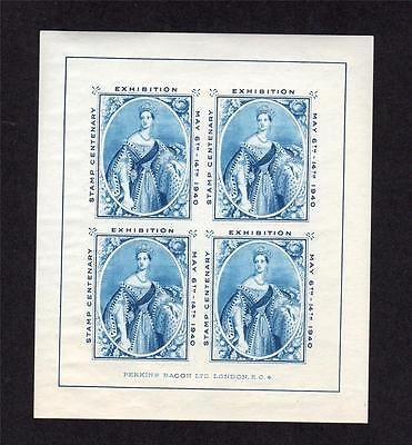 1940 Chalon Head Stamp Exhibition Sheetlet Mounted Mint In Blue