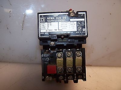 Square D Size 00 Motor Starter 8535 Ag2 Coil 120 Vac  2 Hp Max