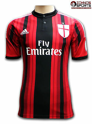 Adidas AC Milan home soccer football shirt adult size short sleeves
