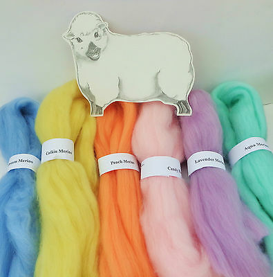 MERINO WOOL PRETTY PASTEL SHADES dyed wool tops / roving / needle felting  60g