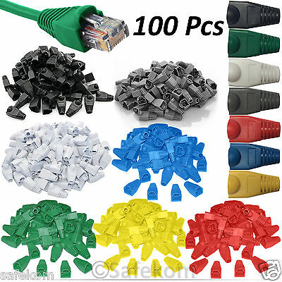 100 LOT RJ45 CAT5e CAT6e Network Ethernet Cable Ends Plug Connector Cover Boots