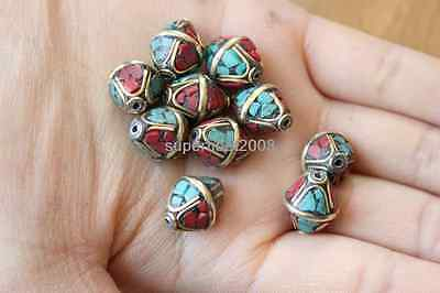10 PCS Nepal Handmade Brass Vintage Turquoise Coral Loose Spacers Beads 18000090