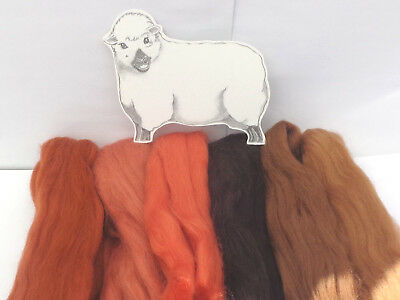 MERINO RUST / BROWN SHADES dyed wool tops / roving / needle felting  60g