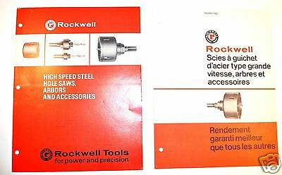 2 PC ROCKWELL HOLE SAW Brochure GROUP #RR63 HSS Hole saw, arbor & french version