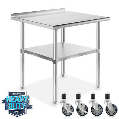 "Stainless Kitchen Restaurant Prep Table with Backsplash w/ 4 Casters - 24"" x 36"""