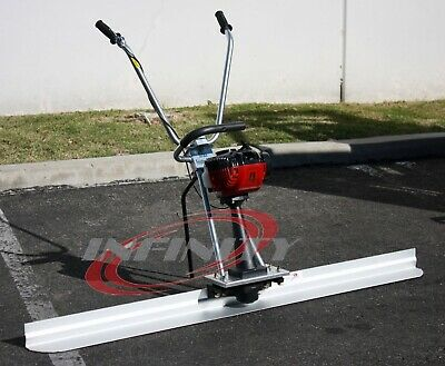 Concrete Surface Finishing Screed Leveling Ruler Tamper Machine w/ 10ft Board