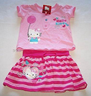 Hello Kitty Girls Pink Printed 2 Piece T Shirt & Skirt Outfit Set Size 2 New