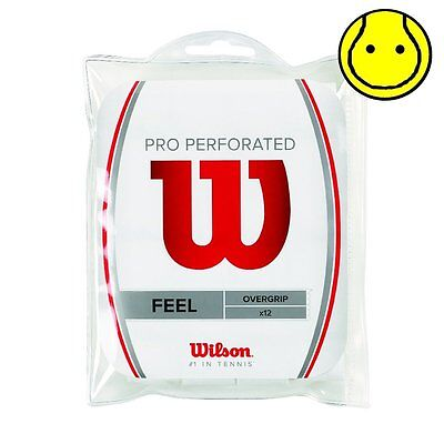 New Wilson Pro Overgrip Perforated 12 Pack Tennis Over Grip - White