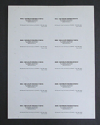 Uncut Sheet of Bill Graham Presents BGP Embossed Business Cards