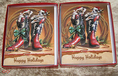 """LEANIN TREE Christmas Boots with """"Critters""""~24 total cards/envelopes~Notelets"""