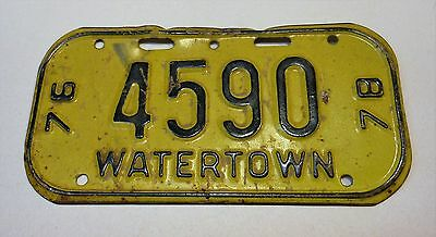 Vintage Wisconsin 1976-78 Watertown Bicycle License Plate