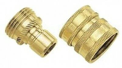 Gilmour 09QCGT 2-Piece Green Thumb Brass Quick Connector Set For Hose