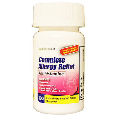 100 Diphenhydramine 25Mg (Gen Benadryl) Bottle Of 100