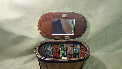 "Used Vintage Solid Wood Collectible Antique Sewing Box With Initials ""E N"""