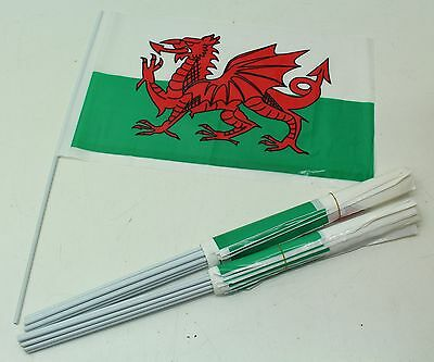 NEW 24 x Large Wales Welsh Dragon Hand Waving Stick Flags - Free P&P