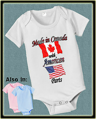 Made In Canada With Usa American Parts Bodysuit Flag Shirt Proud To Be