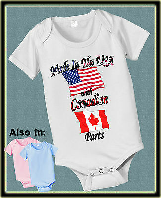 Made In Usa With Canadian Canada Parts Bodysuit Flag Shirt Proud To Be American