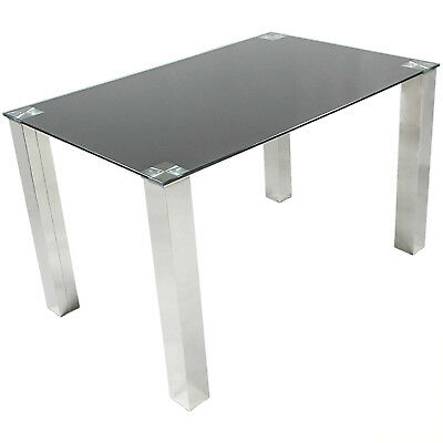 Charles Jacobs 1.5m Dining Table with Black Tempered Glass Top&Thick Chrome Legs