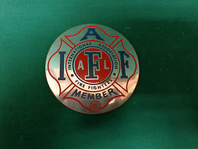 Fire fighter, chrome bumper IAFF member  badge 1940's vintage