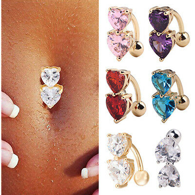 Reverse Crystal Bar Belly Ring Gold Body Piercing Button Navel Two Heart Jewelry