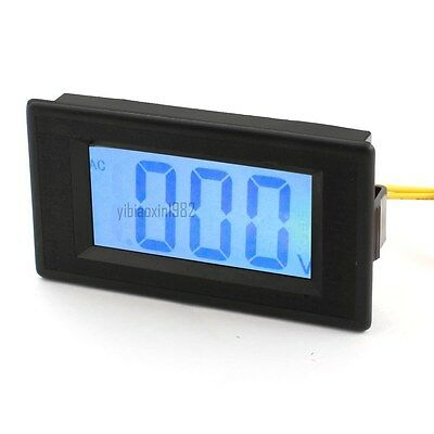 NEW Blue AC 80-500V Panel Mount Blue LCD Display Voltage Test Meter Voltmeter