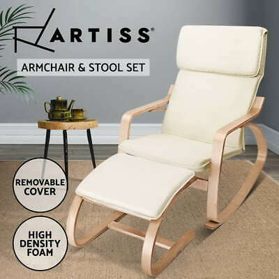 Bentwood Rocking Arm Chair Wooden Lounge Foot Stool Fabric Recliner Padded
