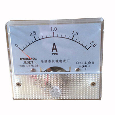 Class 2.5 Accuracy DC 0-2A Analog Panel Meter Ammeter 85C1