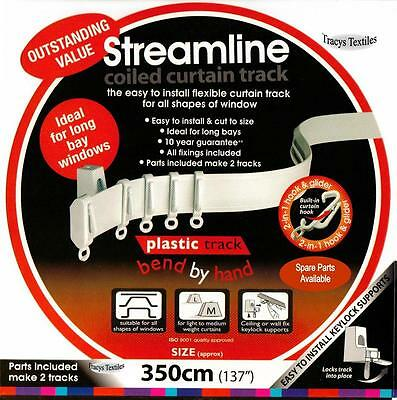"""3.5 mtr (137"""") Bendable Straight & Bay Window Coiled Curtain Track Rail"""