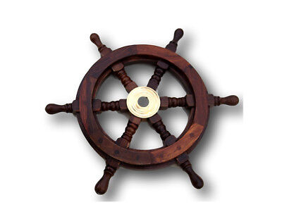 Traditional ship's 6 spoke wooden wheel with brass centre section