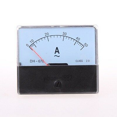Class 2.0 Accuracy AC 0-50A Rectangle Analog Panel Meter Ammeter White DH670