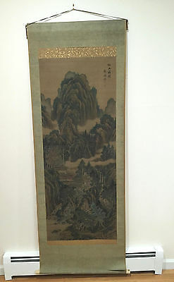 """""""a Pavilion In Fairyland"""" Antique 20Th Century China Chinese Scroll Painting"""