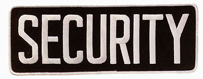 Large Security Guard Officer Uniform Jacket Coat Back Patch 11X4 White On Black