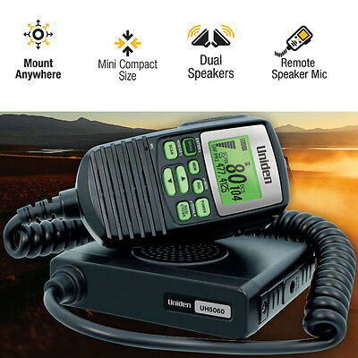 Uniden 5W Mini Compact Size UHF CB Mobile - 80 Channels with Remote Speaker MIC