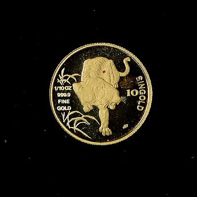 1986 10 Singold Singapore Tiger 1/10 Oz Gold Coin Red Spots