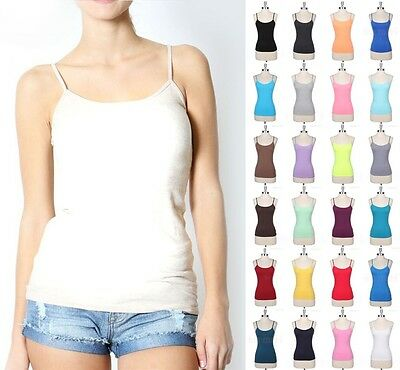 Women Spaghetti Strap Solid Tank Top Layering Cami Camisole Spandex Basic Tee C