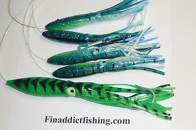 "Squid Daisy Chain Offshore Trolling Lure Tuna 6 in dolphin w 9/"" chart mackerel"