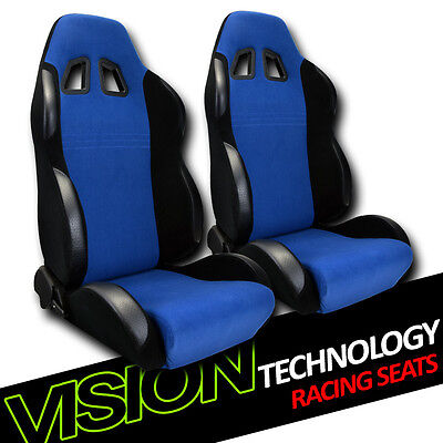 JDM BR Style Blue/Blk Suede Reclinable Racing Bucket Seats w/Slider Kit Pair V27