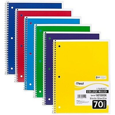 6 PACK:Mead Spiral Notebook, College Ruled, 1 Subject, (05512)